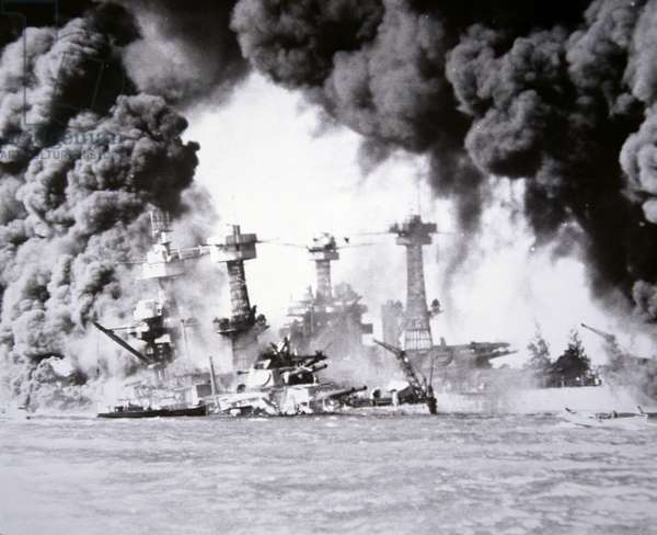 U.S. Battleships sinking at Pearl Harbor, 7th December, 1941 (b/w photo)