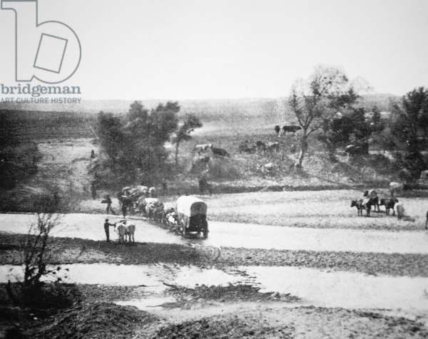Covered Wagon crossing Tecolate Creek, New Mexico, 1867 (b/w photo)