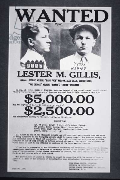 Wanted poster for Lester M. Gillis 'Baby Face' Nelson (1908-1934) 1934 (b/w photo)