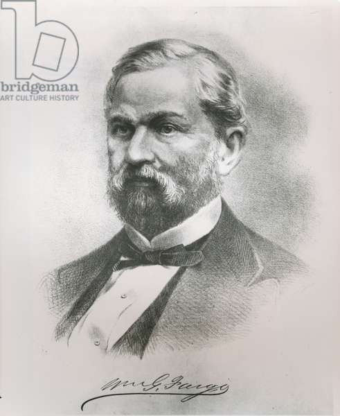 Portrait of William George Fargo (1818-81) co-founder of Wells Fargo & Co. (litho)