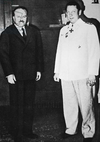 Hermann Goering meets with Molotov, Soviet Commissar for Foreign Affairs, in Berlin, November, 1940 (b/w photo)