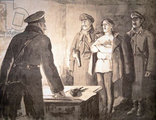 A Cheka officer interrogates a suspected 'enemy of the people', 1917 (litho)
