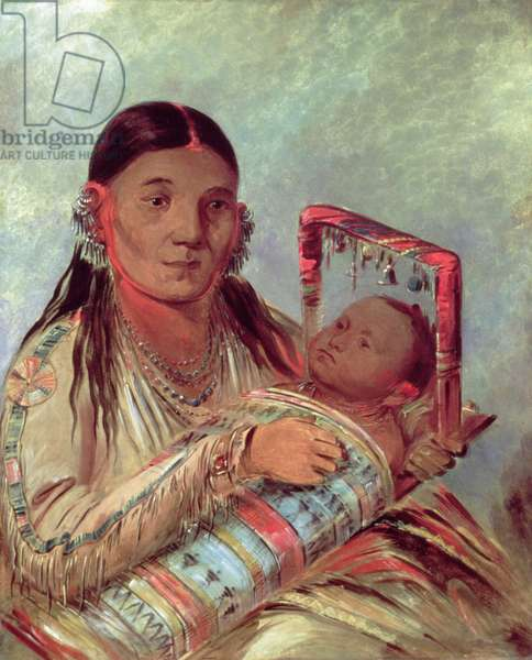 Sioux mother and baby, c.1830 (oil on canvas)