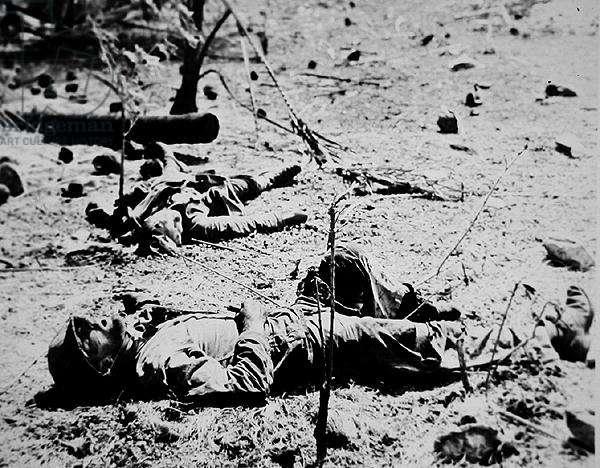 US Marine lies dead on Eniwetok Island, February 1944 (b/w photo)