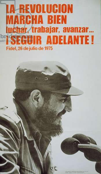Poster featuring Fidel Castro, 1975 (colour litho)