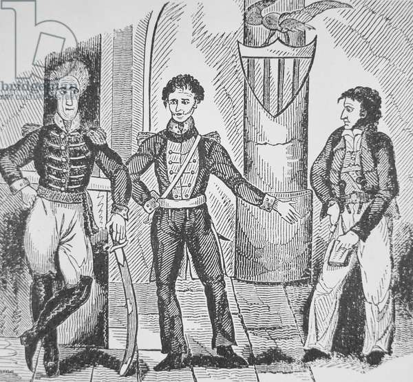 Jean Lafitte, the pirate chief (left), offers his services to Governor Claiborne (middle) and General Andrew Jackson (engraving)