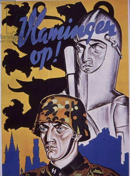 WW2 Belgian recruitment poster for German Army, showing Waffen-SS soldier wearing camouflage helmet cover (colour litho)