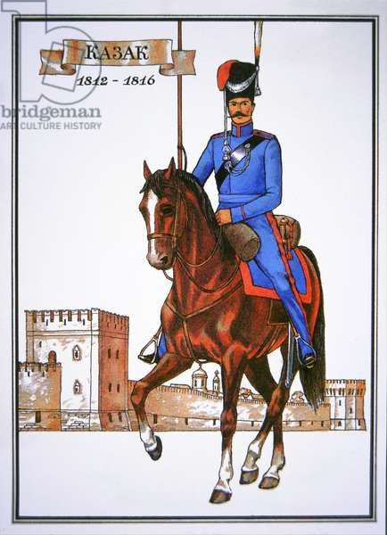 Postcard depicting a Cossack officer of 1812-16 (colour litho)
