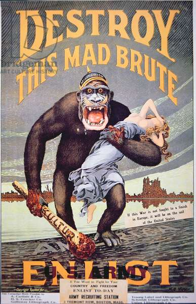'Destroy this mad brute', World War One recruitment poster (colour litho)