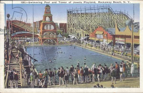 Postcard of the swimming pool and Tower of Jewels Playland, Rockaway Beach, New York, 1936 (colour litho)