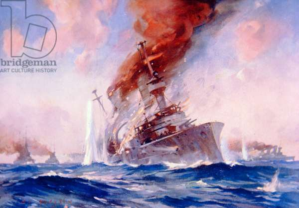 Battle of the Falklands: Sinking of the Scharnhorst, 1914 (colour litho)