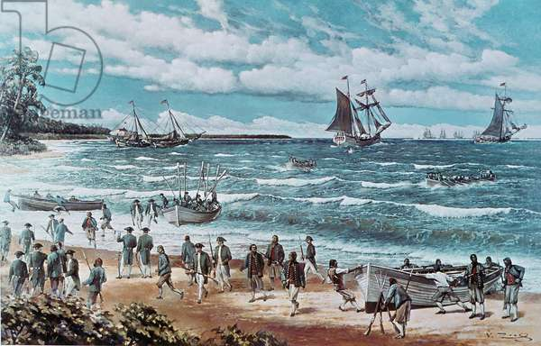 First fleet operations of the Continental Navy under Commodore Hopkins, 3rd March 1776 (oil on canvas), 1973