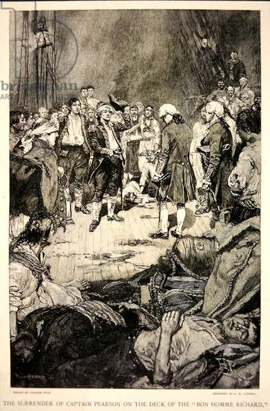 The surrender of Captain Pearson to John Paul Jones on the deck of the Bonhomme Richard in 1779 (litho)