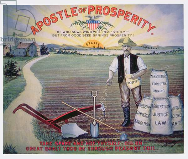 Election poster depicting Theodore Roosevelt as the 'Apostle of Prosperity', 1903 (colour litho)