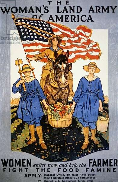 Poster advertising the Woman's Land Army of America, 1918 (colour litho)