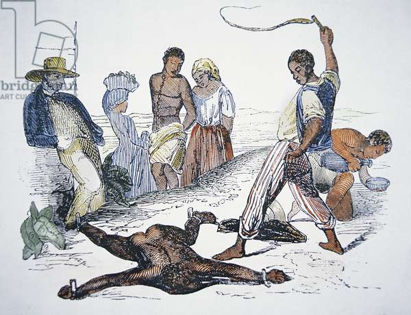Whipping a slave in punishment (coloured engraving)