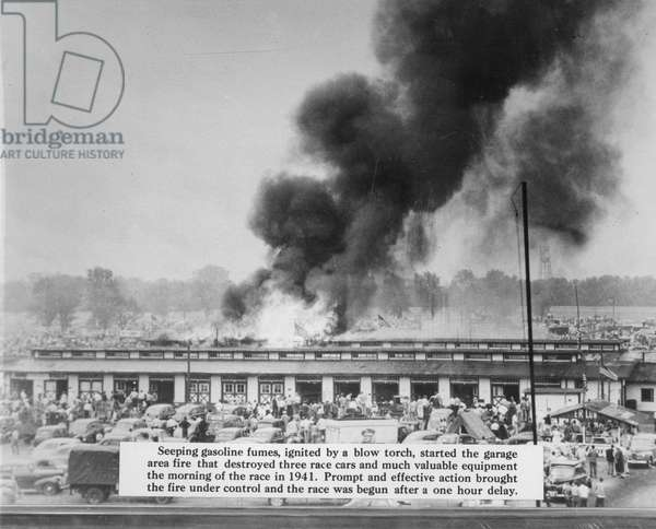 Fire at the Indianapolis Speedway, 1941 (b/w photo)