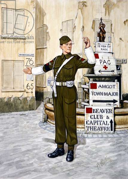 Corporal of No.1 Provost Company, Royal Canadian Mounted Police, on duty in Italy, 1943, 1986 (colour litho)