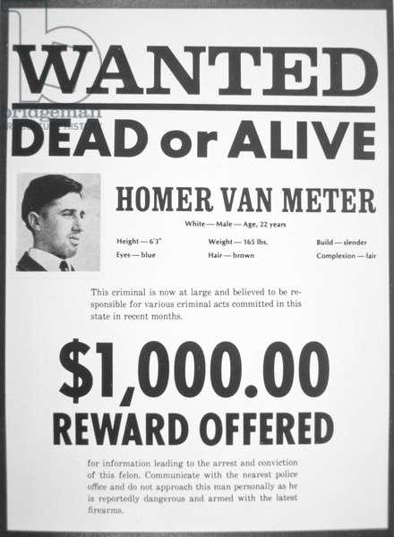 Wanted poster for Homer van Meter (newsprint)