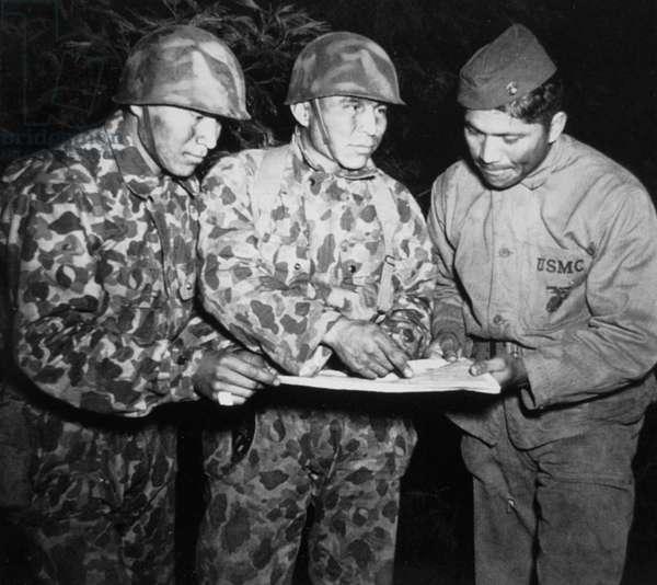 Navajo code radio talkers of 1st US Marine Division, June 1943 (b/w photo)