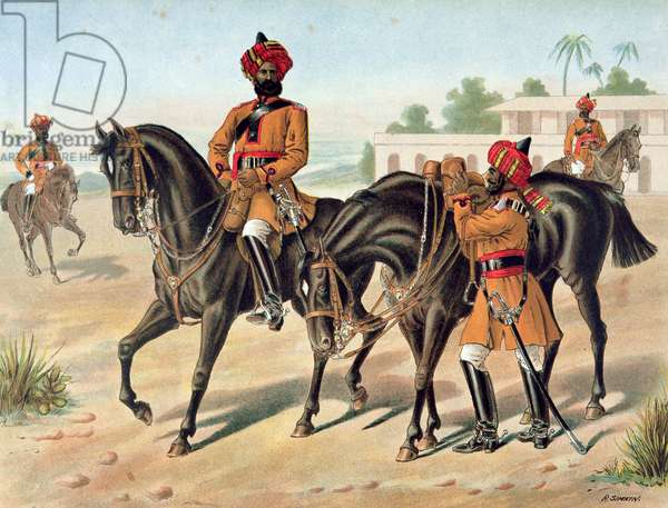 The 1st Bengal Cavalry, Review Order, Anglo-Indian Army of the 1880s (colour litho)