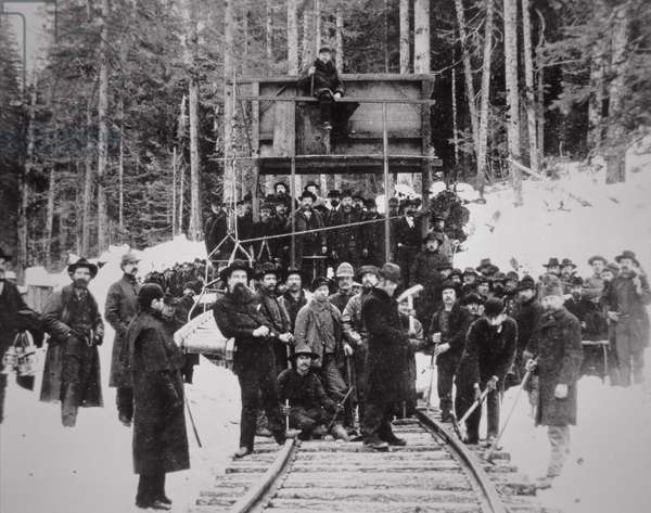 Completion of the Great Northern Railroad, 6th January 1893 (b/w photo)