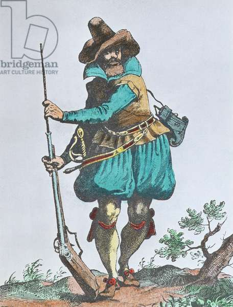 German soldier of the early 17th century, armed with matchlock musket (colour engraving)