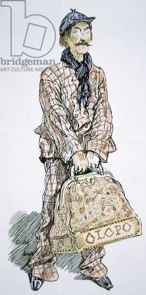 A typical Italian immigrant with a carpet bag, 1912 (coloured engraving)