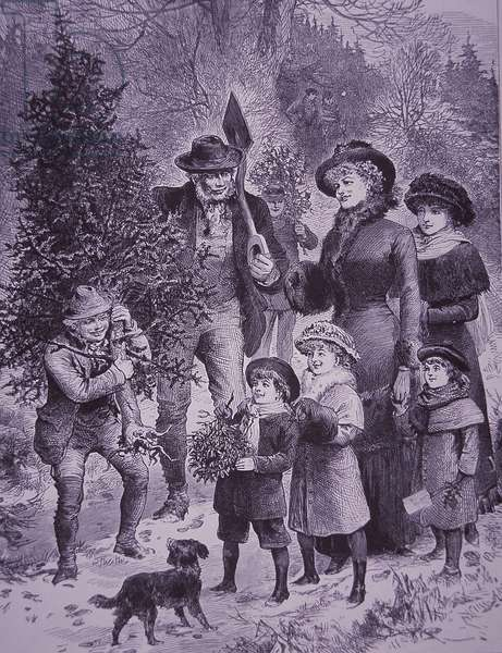 Bringing home the Christmas tree, 1882 (engraving)