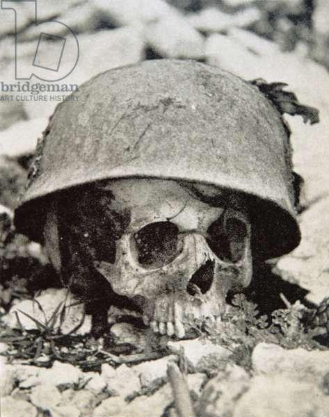 German paratrooper skull at Monte Cassino Monastery, Italy, 1944 (b/w photo)