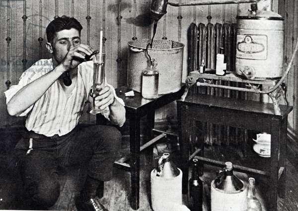 Making Bootleg Liquor (b/w photo)