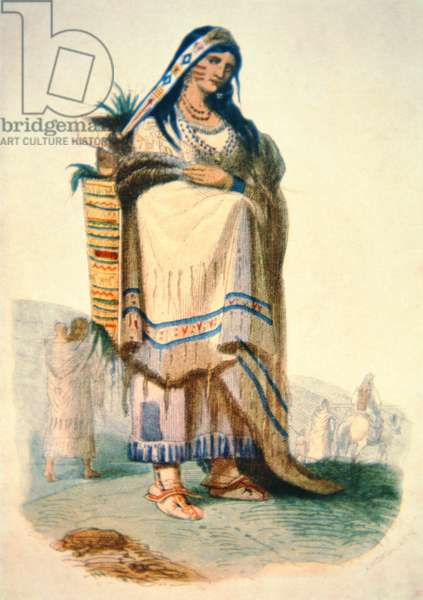 Sioux mother with baby in a cradleboard (colour litho)