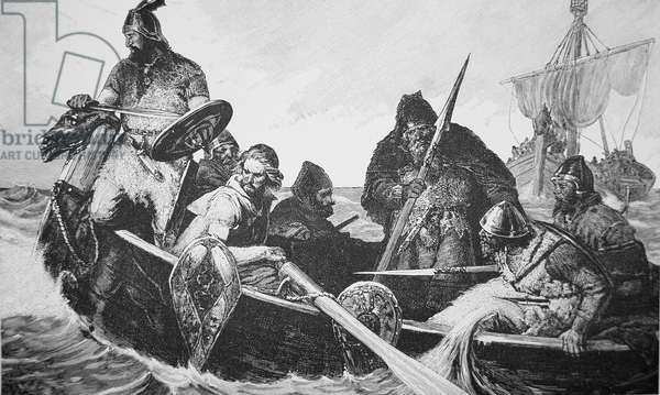 Leif Ericson discovers the shore of Vinland the Good, probably Newfoundland (engraving)