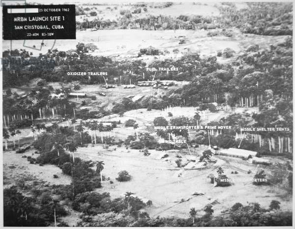 US Aircraft Reconnaissance photograph of a Cuban/Russian missile site, 1962 (b/w photo)
