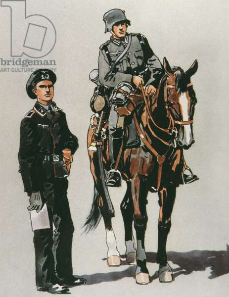 Tank officer and mounted soldier of the German Army, 1936 (colour litho)
