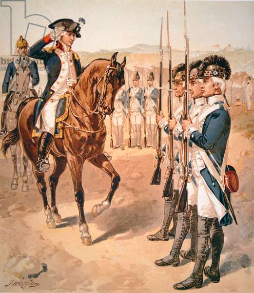 Marquis de Lafayette inspecting his command of Light Infantry in 1782 (w/c on paper)