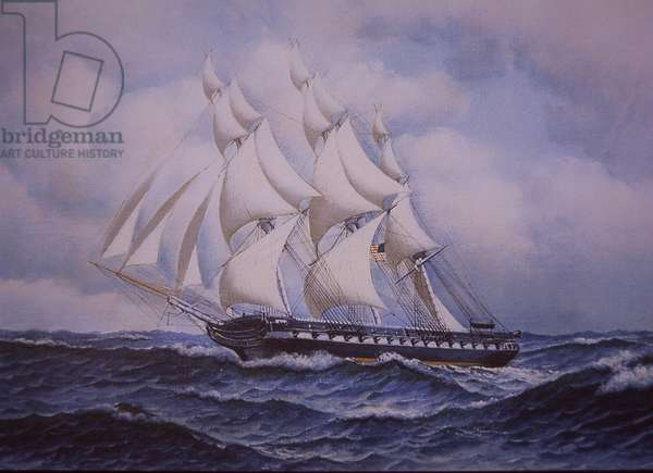 USS Constitution (colour litho)
