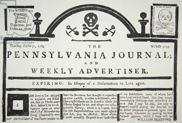 An American reply to the British imposed Stamp Act, pub. in The Pennsylvania Journal and Weekly Advertiser on 31st October 1765 (newsprint)