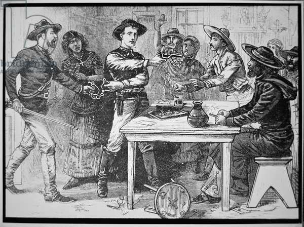 Texas Rangers arresting a Mexican outlaw, c.1880 (engraving)
