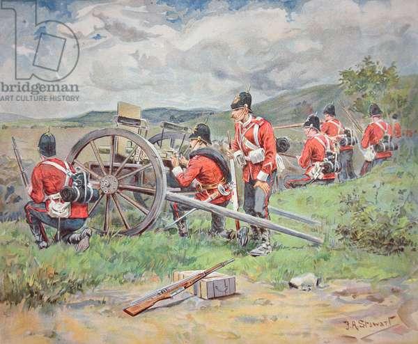 British troops working a Maxim machine gun during manoeuvres, 1900 (w/c on paper)