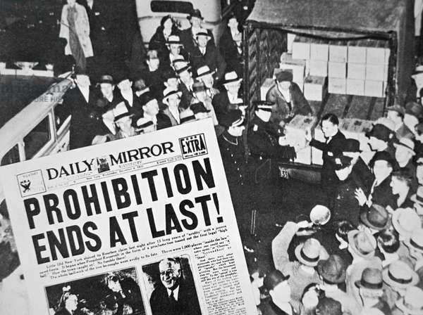 Headline declaring the end of Prohibition, 6th December, 1933 (litho)
