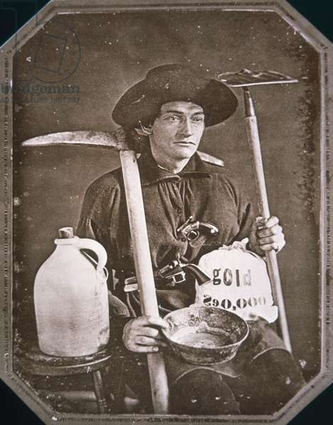 Gold Rush prospector, 1849 (b/w photo)