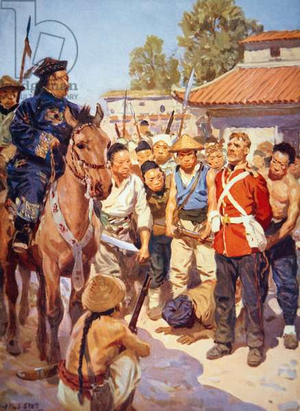Rebels capture a British soldier during the Taiping Rebellion in China (w/c on paper)