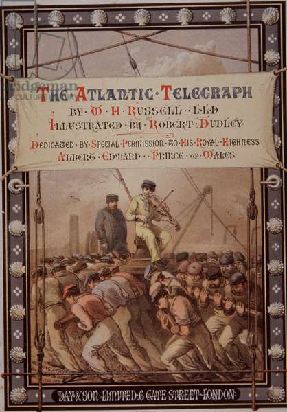 Laying Atlantic telegraph cable from the deck of the Great Eastern, 1863 (colour litho)