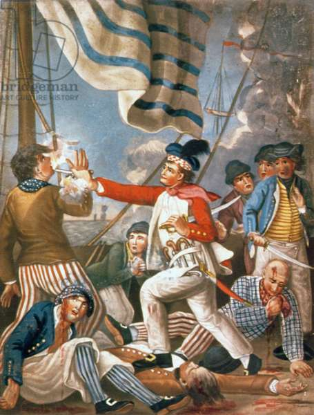 John Paul Jones shooting a sailor who had attempted to strike his colours in an engagement, pub. by Carrington Bowles, 1779 (mezzotint)