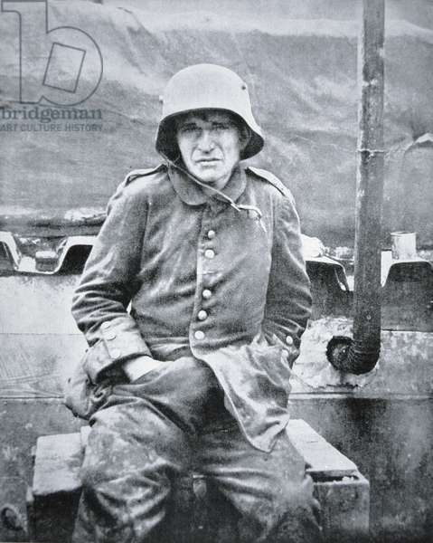 German POW captured at the First Battle of the Somme, November 1916 (b/w photo)