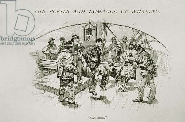 'Gamming' (whalers relaxing and dancing on deck), for 'The Perils and Romance of Whaling' in Century Magazine, August 1890 (engraving)