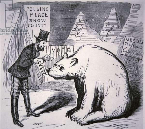 Cartoon depicting American politician trying to find voters in Uninhabited Alaska, 1867 (engraving)