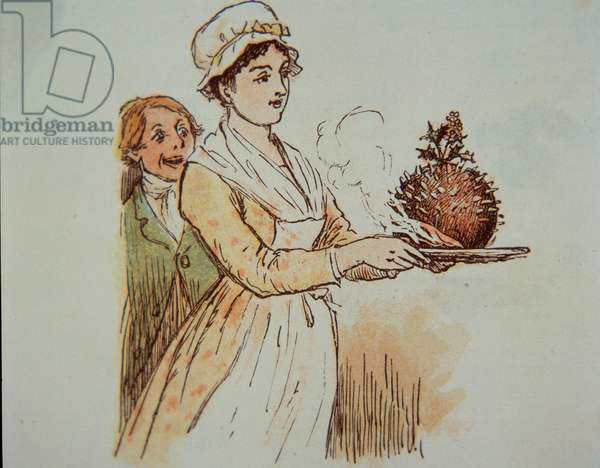 Christmas pudding, 1885 (hand-coloured etching)