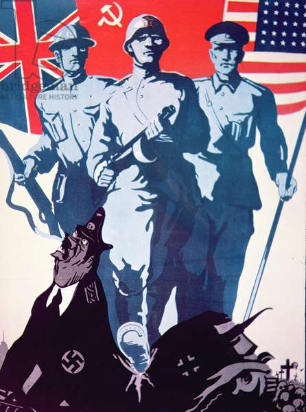 Poster promoting the Anglo-American-Soviet alliance, c.1942 (colour litho)